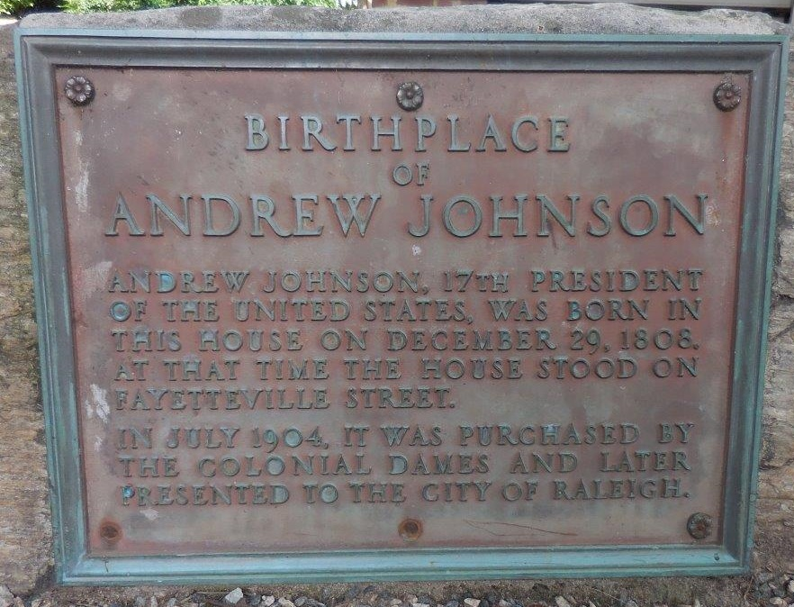 Andrew Johnson birthplace plaque