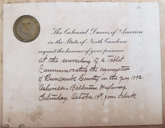 An invitation to the dedication of a tablet commemorating the organization of Buncombe County in 1792.