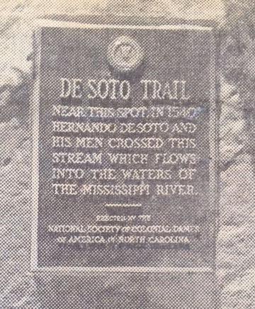 photo from a newspaper clipping about the unveiling of the de Soto marker