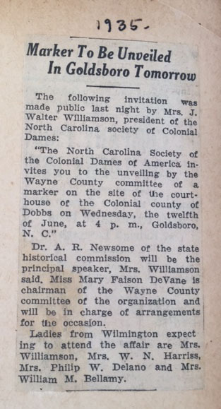 newspaper clipping regarding Wyane County marker