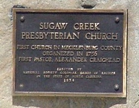 Sugaw Creek plaque